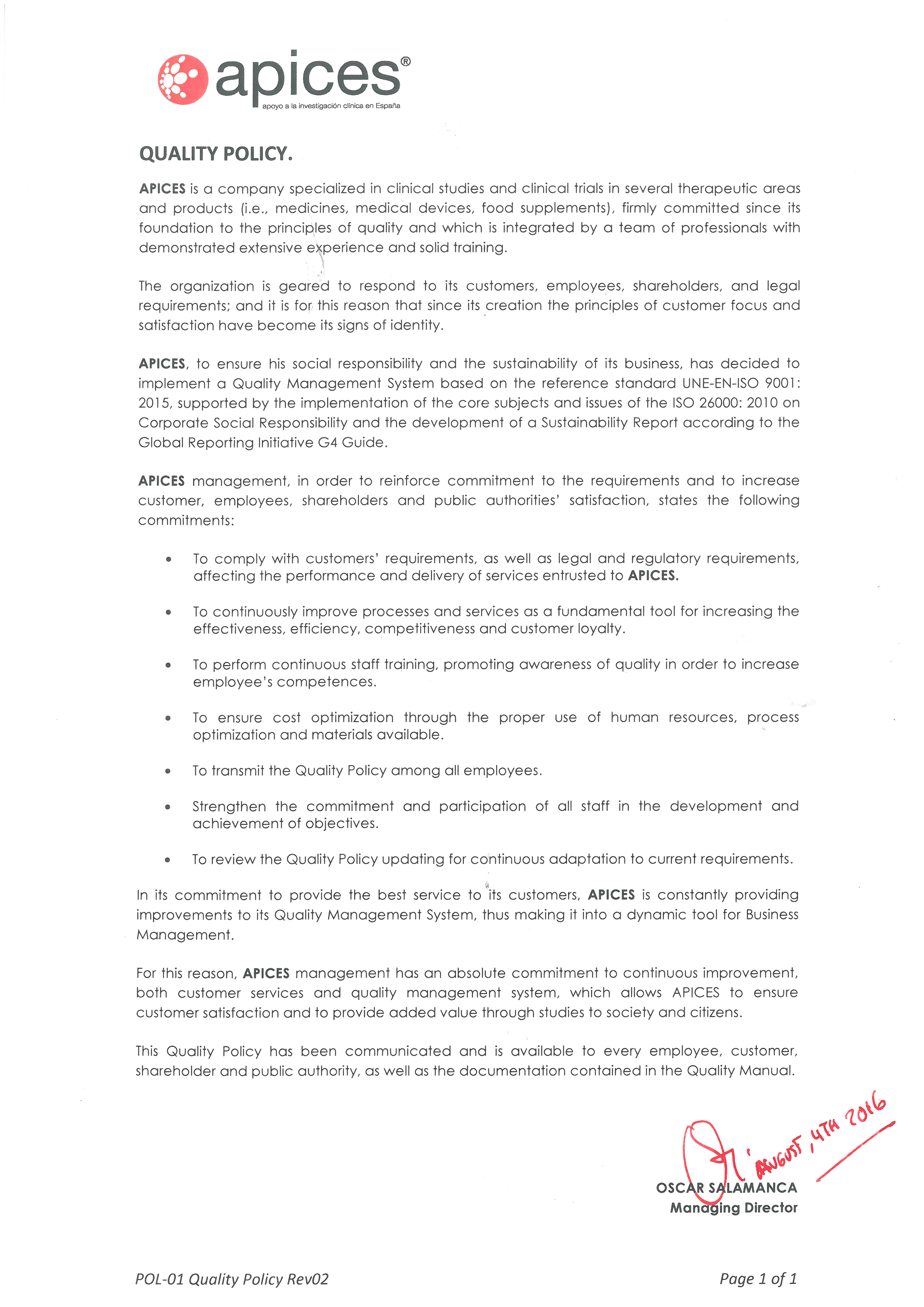 POL-01 APICES Quality Policy EN